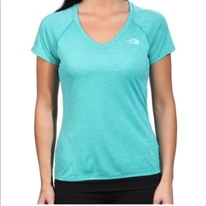 NORTH FACE Turquoise Short Sleeve V-neck Tee